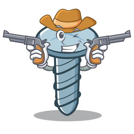 Cowboy screw character cartoon style