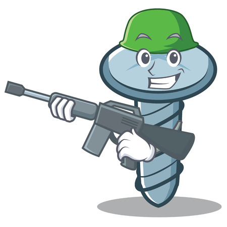 Army screw character cartoon style Иллюстрация