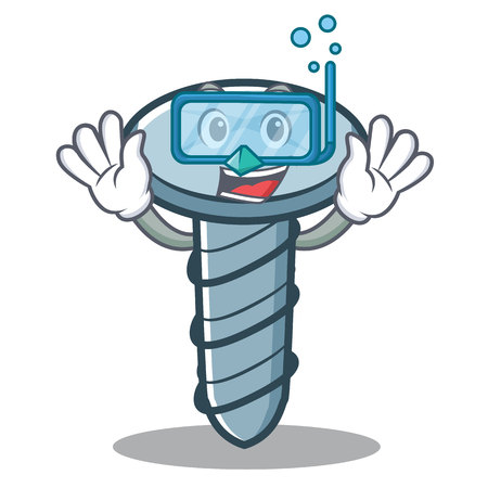 Diving screw character cartoon style Иллюстрация