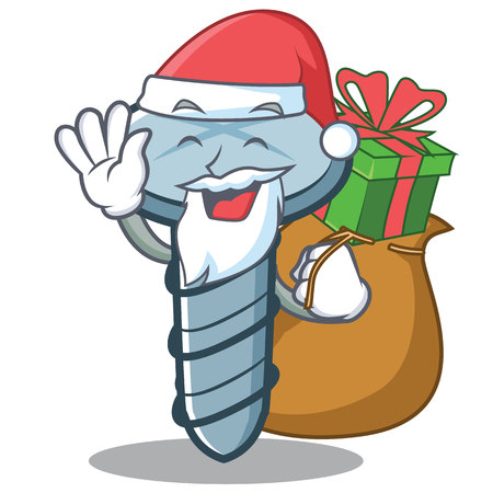 Santa with gift screw character cartoon style vector illustration