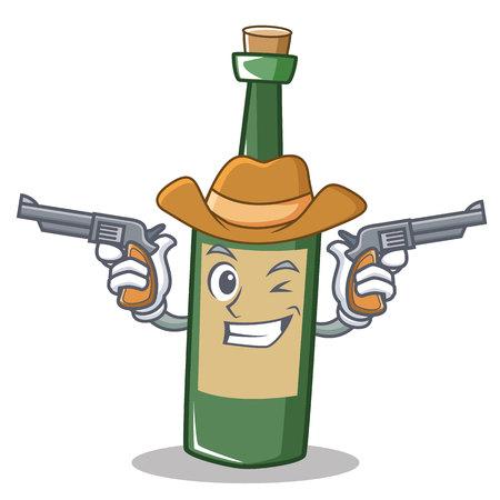 Cowboy wine bottle character cartoon vector illustration