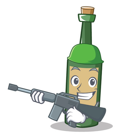 Army wine bottle character cartoon vector illustration