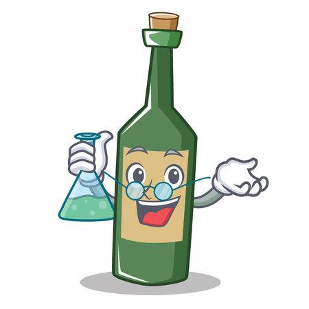 Professor wine bottle character cartoon