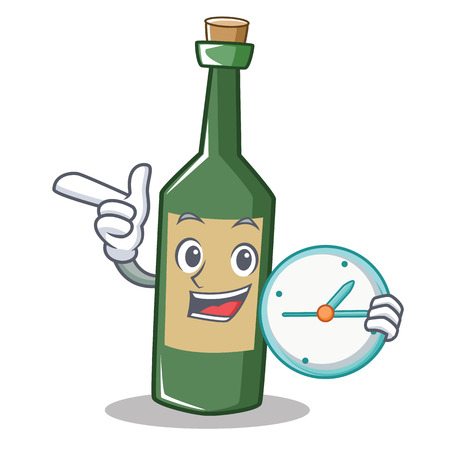 With clock wine bottle character cartoon