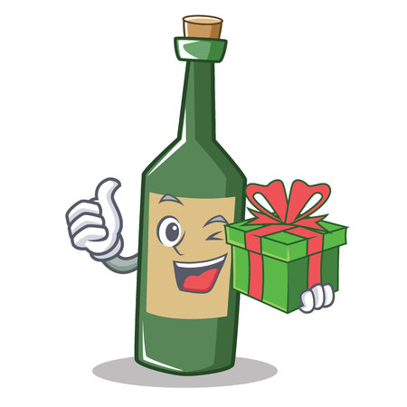 With gift wine bottle character cartoon vector illustration