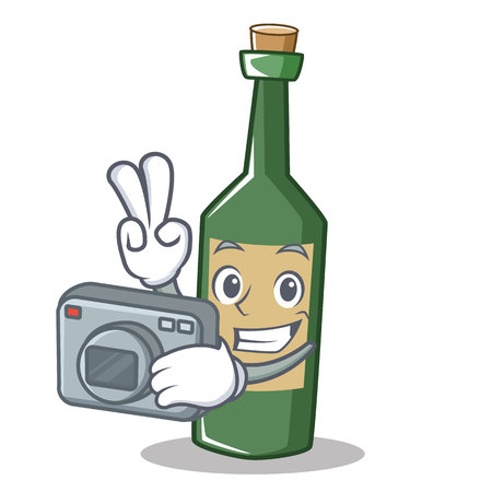 Wine bottle with camera character cartoon Illustration