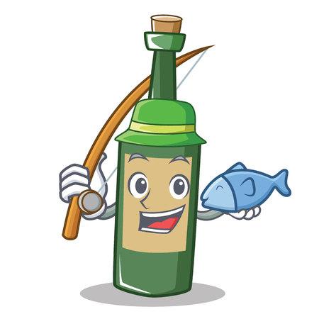 Fishing wine bottle character cartoon Illustration