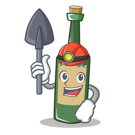 Miner wine bottle character cartoon vector illustration