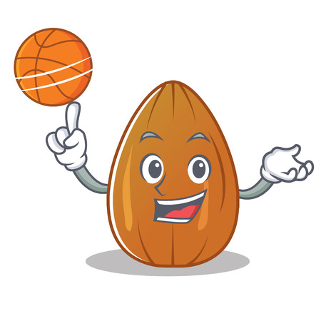 With basketball almond nut character cartoon Illustration