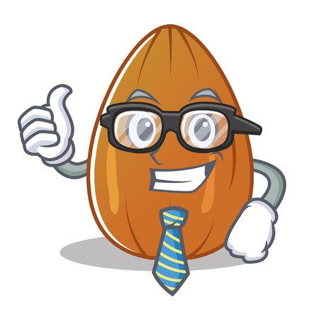 Businessman almond nut character cartoon vector illustration.
