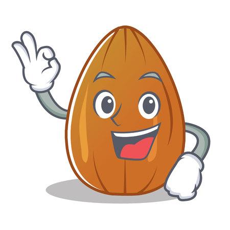 Okay almond nut character cartoon vector illustration. 矢量图片