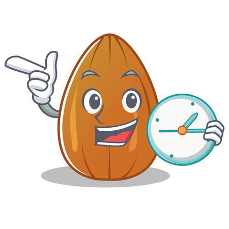 With clock almond nut character cartoon vector illustration.