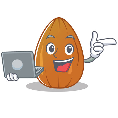 With laptop almond nut character cartoon vector illustration.