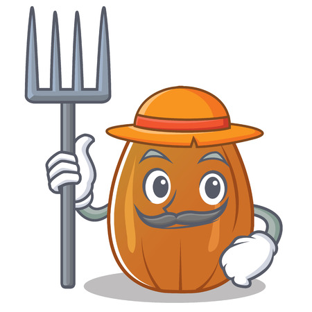 Farmer almond nut character cartoon vector illustration.  イラスト・ベクター素材