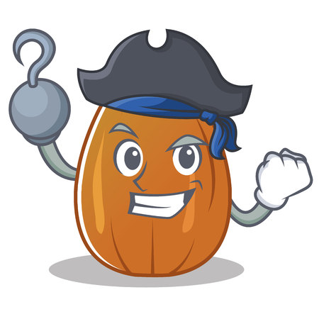 Pirate almond nut character cartoon vector illustration.