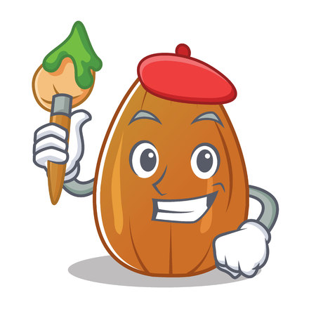 Artist almond nut character cartoon Vektorové ilustrace