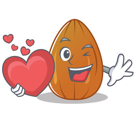 With heart almond nut character cartoon vector illustration