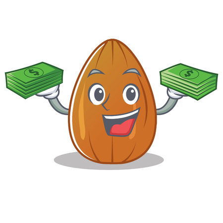 With money almond nut character cartoon