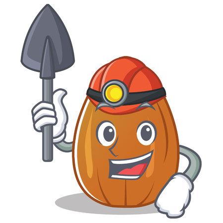 Miner almond nut character cartoon vector illustration Illustration