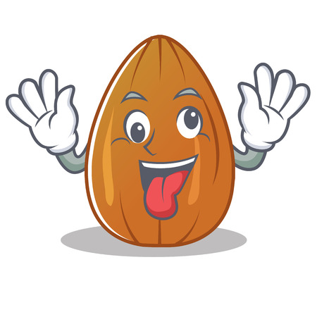 Crazy almond nut character cartoon vector illustration Иллюстрация