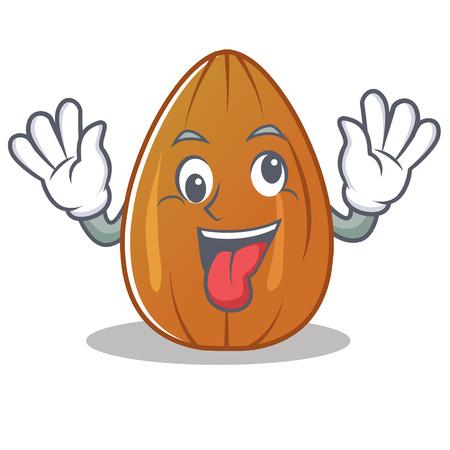 Crazy almond nut character cartoon vector illustration Vectores