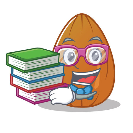 Student with book almond nut character cartoon vector illustration Illustration