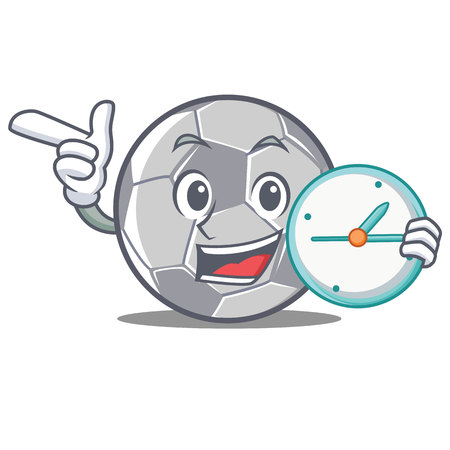 With clock football character cartoon Illustration