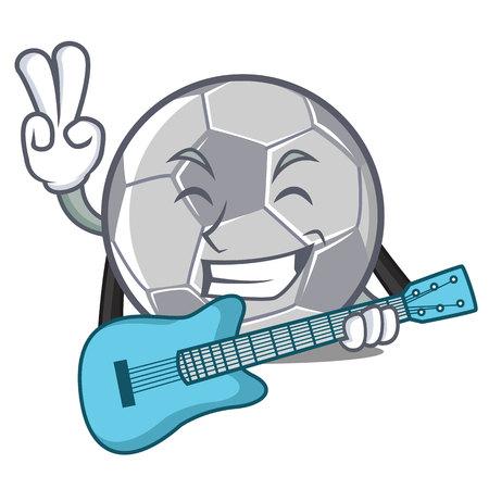 With guitar football character cartoon