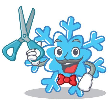 Barber snowflake character cartoon style Illustration