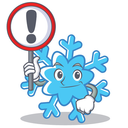 With sign snowflake character cartoon style vector illustration Illustration