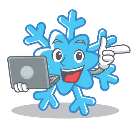 With laptop snowflake character cartoon style vector illustration