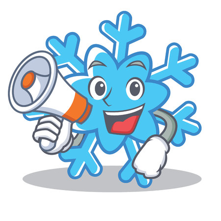 With megaphone snowflake character cartoon style vector illustration