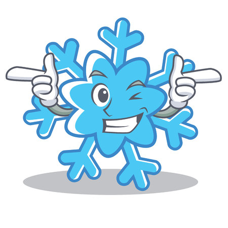 Wink snowflake character cartoon style vector illustration