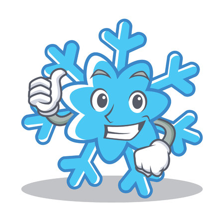 Thumbs up snowflake character cartoon style vector illustration