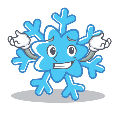 Grinning snowflake character cartoon style