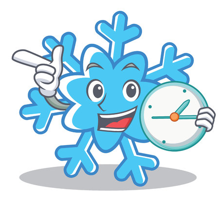 With clock snowflake character cartoon style, vector illustration.