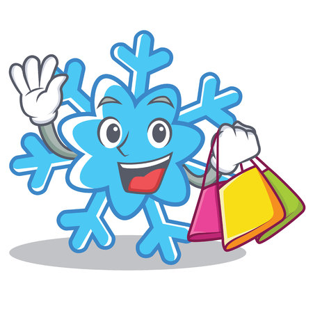 Shopping snowflake character cartoon style, vector illustration.