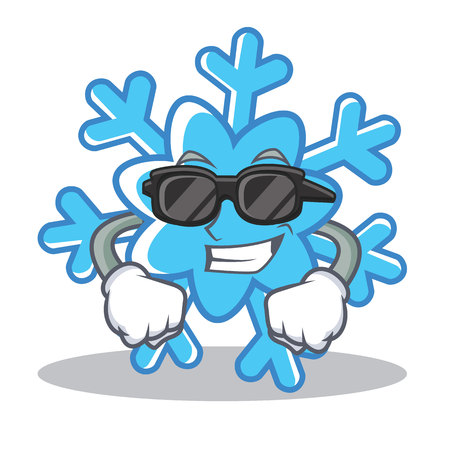Super cool snowflake character cartoon style, vector illustration.