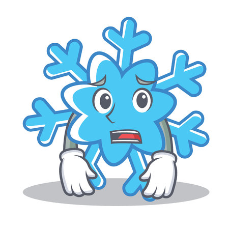 Afraid snowflake character cartoon style, vector illustration.