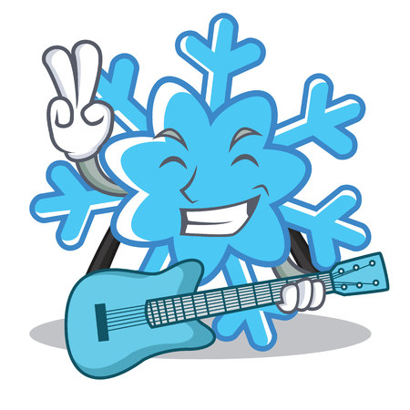 With guitar snowflake character cartoon style, vector illustration.