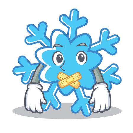 Silent snowflake character cartoon style