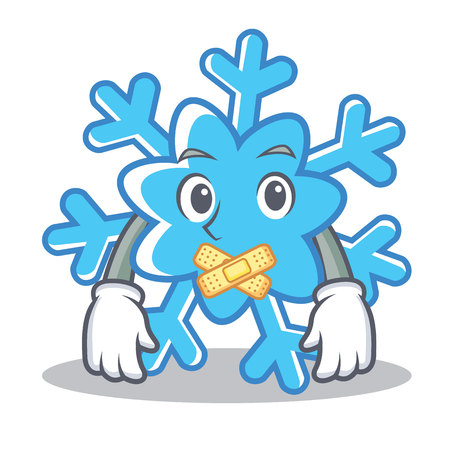 Silent snowflake character cartoon style