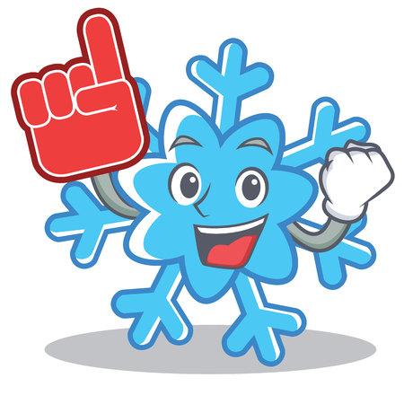 Foam finger snowflake character cartoon style Illustration