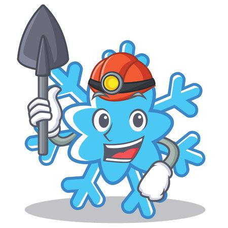 Miner snowflake character cartoon style.