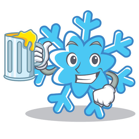 With juice snowflake character cartoon style.