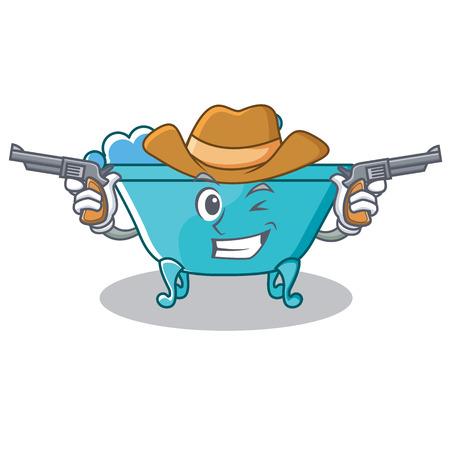 Cowboy bathtub character cartoon style