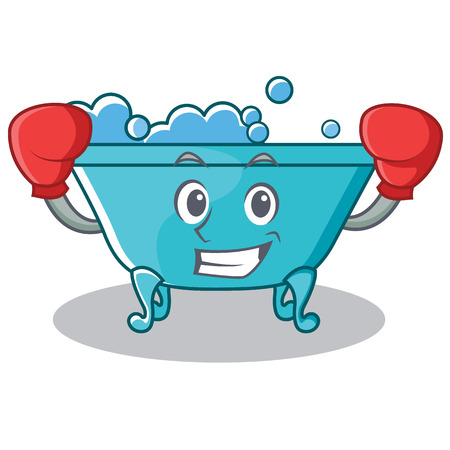 Boxing bathtub character cartoon style Illustration