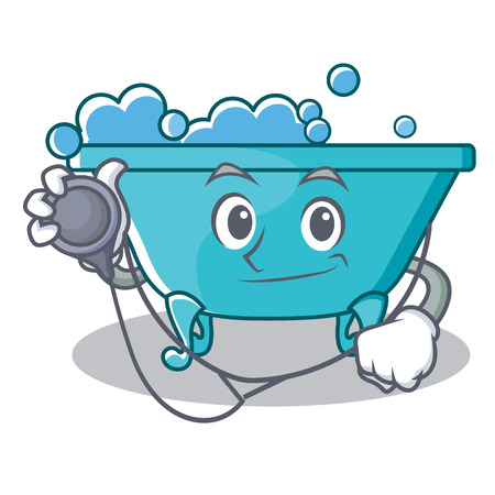 Doctor bathtub character cartoon style