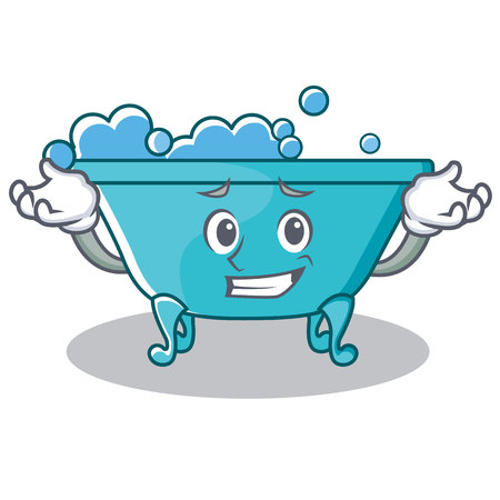 Grinning bathtub character cartoon style