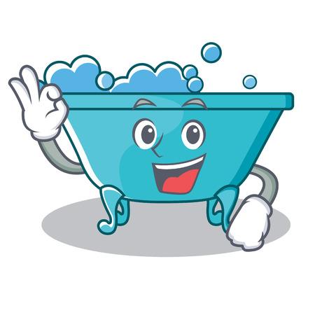 Okay bathtub character cartoon style